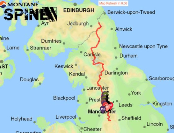 Map of the Spine Race