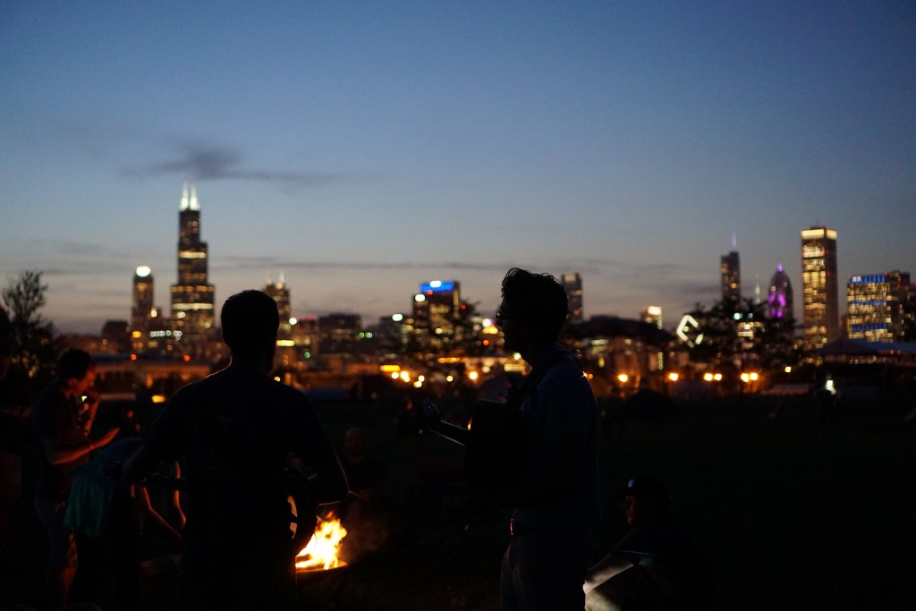 Campers at Northerly Island, Chicago / Darker than Green