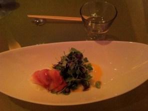 Morimoto Jumai Saki Amberjack fish, micro-green salad, carrot oil, yuzu foam