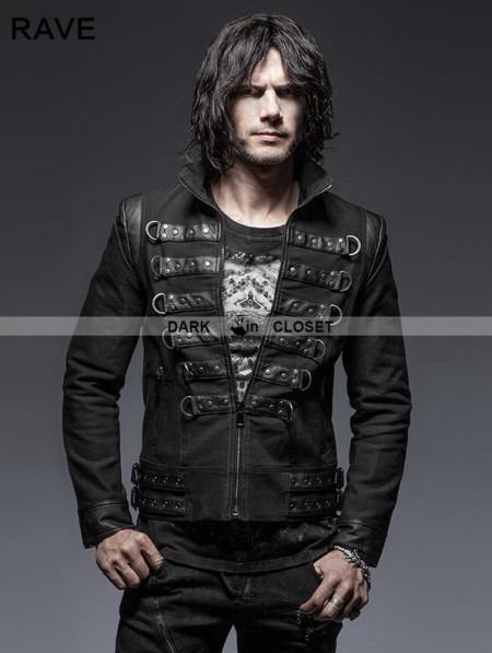 Punk Rave Black Gothic Punk Handsome Soldier Jacket For