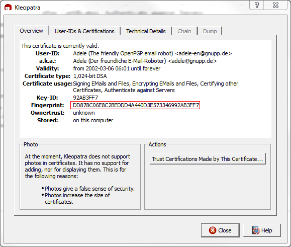 Figure 26: View the Fingerprint of /Adele/ certificate by double clicking on certificate inside Kleopatra program
