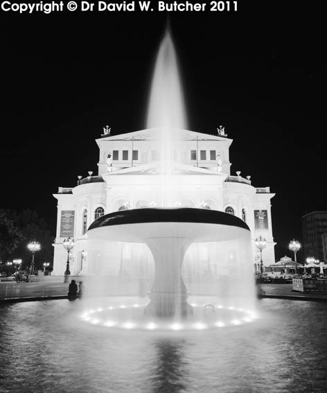 Frankfurt Alte Oper and Fountain at Night