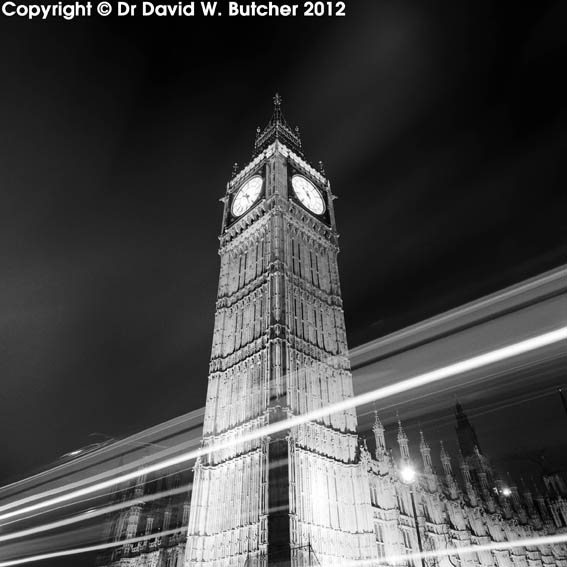 London Big Ben Light Trails