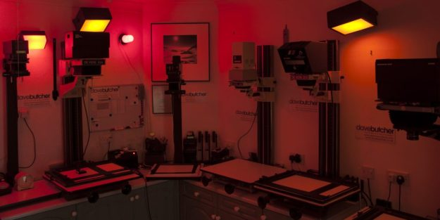 Dave Butcher Darkroom Enlargers in Safelight