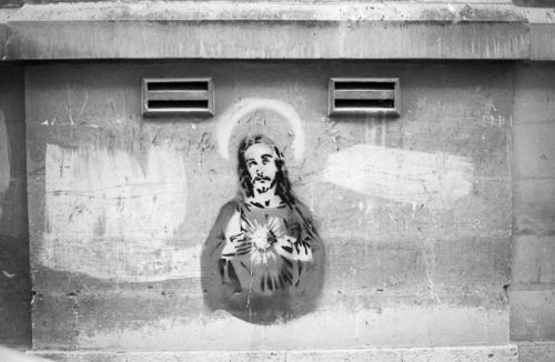Graffiti, Jesus Christ, Ilford Delta 100, Darkroom Malta, Developing, 35mm Film, Alan Falzon,Pentax