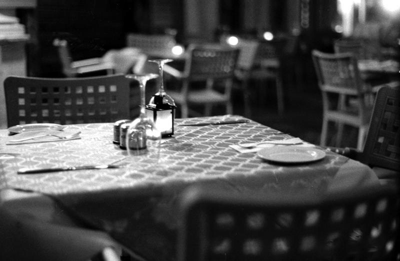 Restaurant table, Pushed, asa400,asa1600,35mm film, 120 film, black and white,Valletta, Darkroom Malta