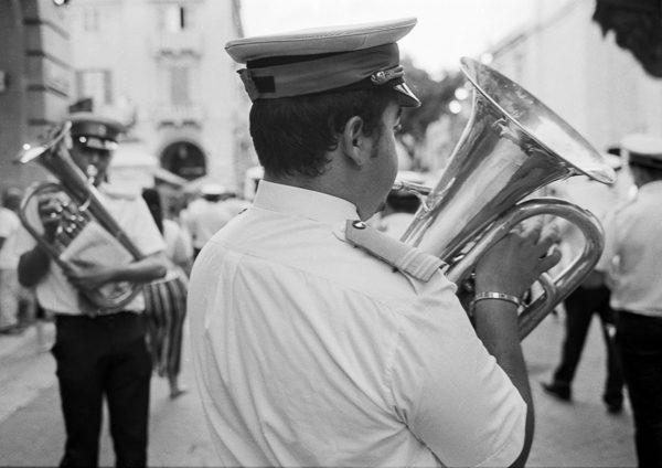 Feast musician, Valletta, Darkroom Malta, 35mm Film, Black and White