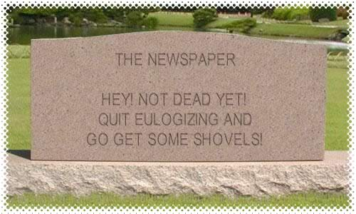 Tombstone for a newspaper