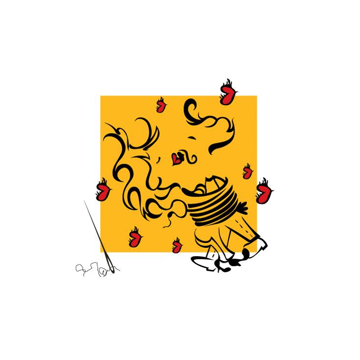 Ilustração Namorados, de Darlene Carvalho. Ilustração digital. Desenho.