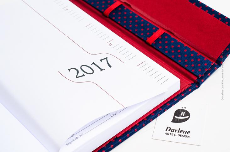 Agenda 2017 com bolsos e porta-caneta / Darlene Carvalho / Papelaria Artesanal