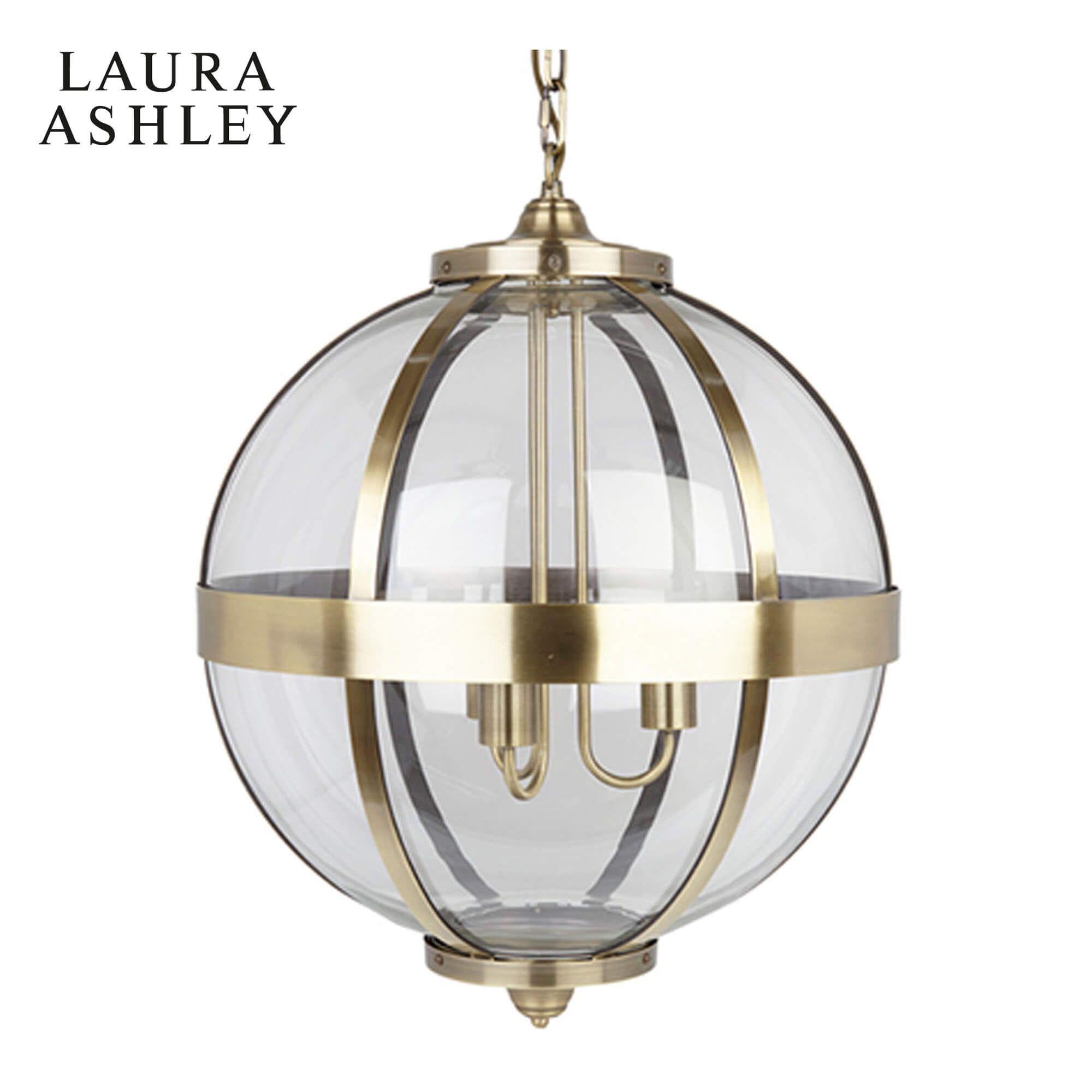 Laura Ashley Odiham Globe Lantern Antique Brass Glass