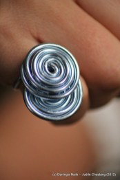 Bague bleue double spirale simple prix 4€