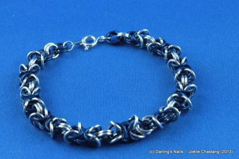 Bracelets en maillons argentés et bleus 20cm prix : 25 €