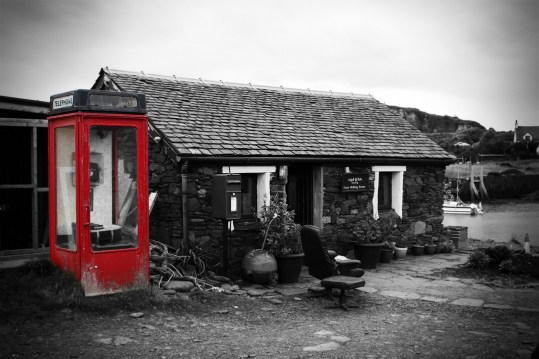 Easdale Ferry waiting room and telephone box, Scotland 2016