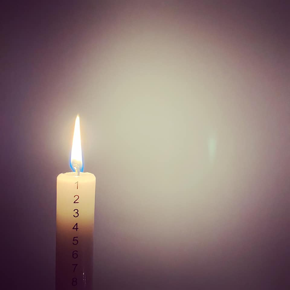 Lit Advent candle