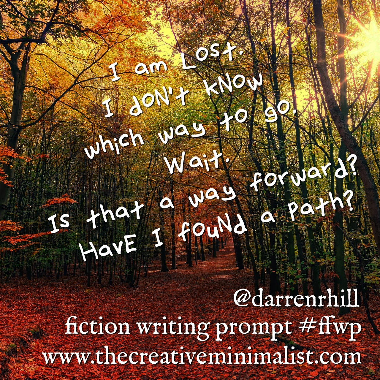 I am lost. I don't know which way to go. Wait. Is that a way forward? Have I found a path? Friday Fiction Writing Prompt the creative minimalist