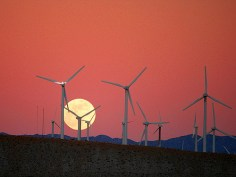 """Moon Rise behind the San Gorgonio Pass Wind Farm"" by Chuck Coker on Flickr"