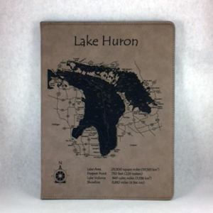 Leatherette Lake Huron Etched Notebook