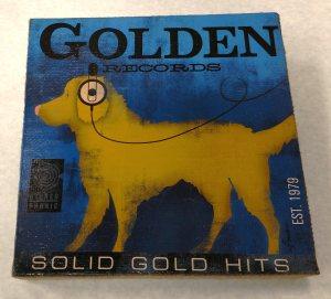 golden records burlap wall art