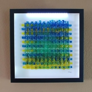 Batik Inspired Enamel Painted Fused Glass Weave