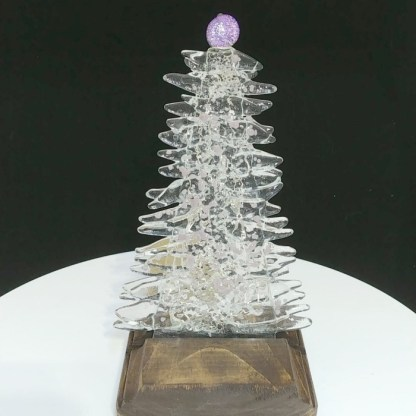 Lilac and Clear Fused Glass Christmas Tree with LED Lighting