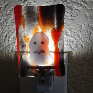LED Nightlight with Halloween Ghost and Colored Fused Glass