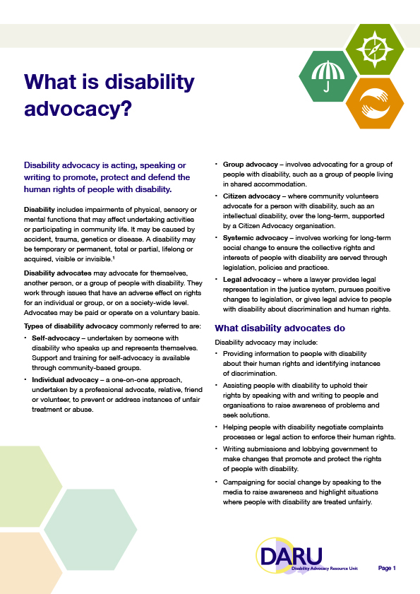 what is disability advocacy disability advocacy resource unit daru