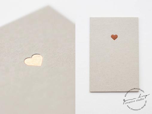 Frambiose Design - Graukarten meets Kupfer Herz Papeterie Hochzeit