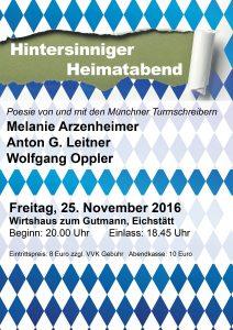 Hintersinniger Heimatabend mit den Turmschreibern Melanie Arzenheimer, Anton G. Leitner und Wolfgang Oppler in Eichstätt