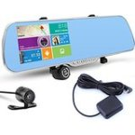 PolarLander 5 Inch Touch Screen Car DVR Android GPS WiFi FM Parking Rearview Mirror HD Dash Cam Dual Camera DVR