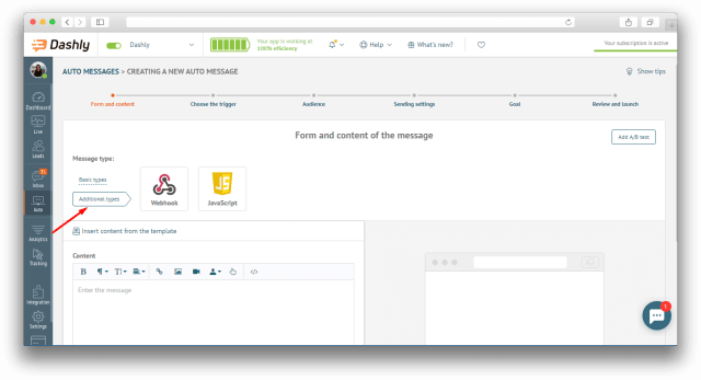 Webhooks and JS auto messages for visitor tracking
