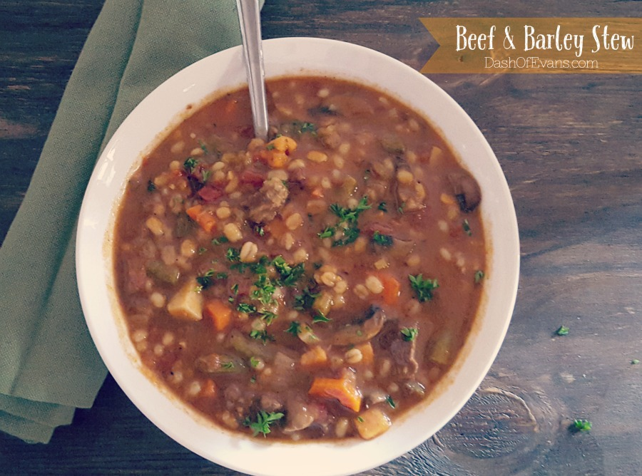 Veggie filled Beef & Barley Stew--perfect cold weather comfort food! | @DashOfEvans