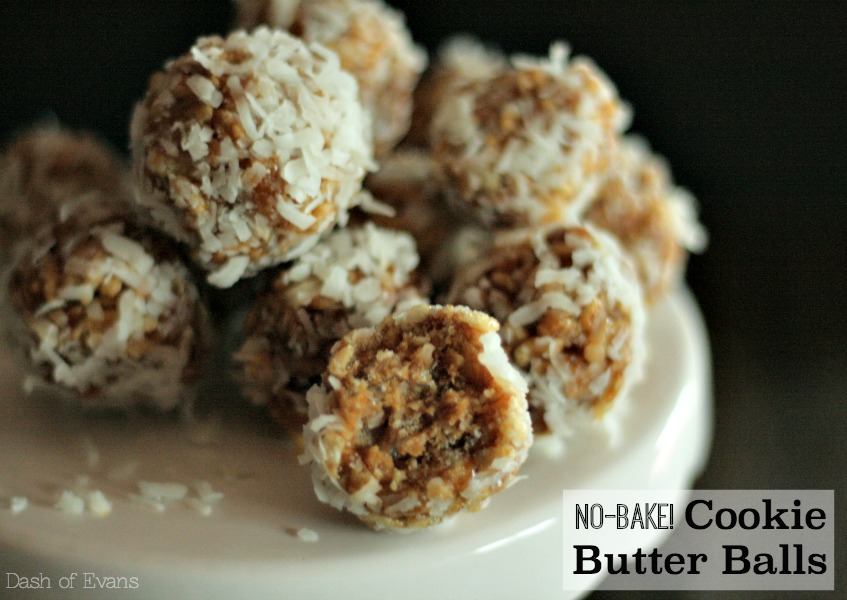 5 Ingredients and NO bake: Cookie Butter Balls via @DashOfEvans