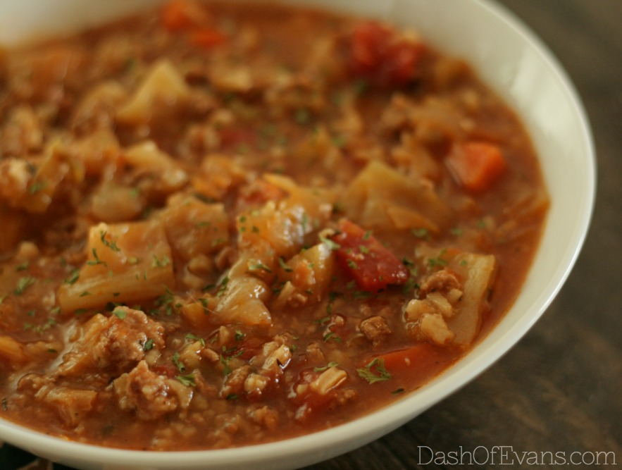 Budget friendly & healthy: Stuffed Cabbage Soup via @DashOfEvans