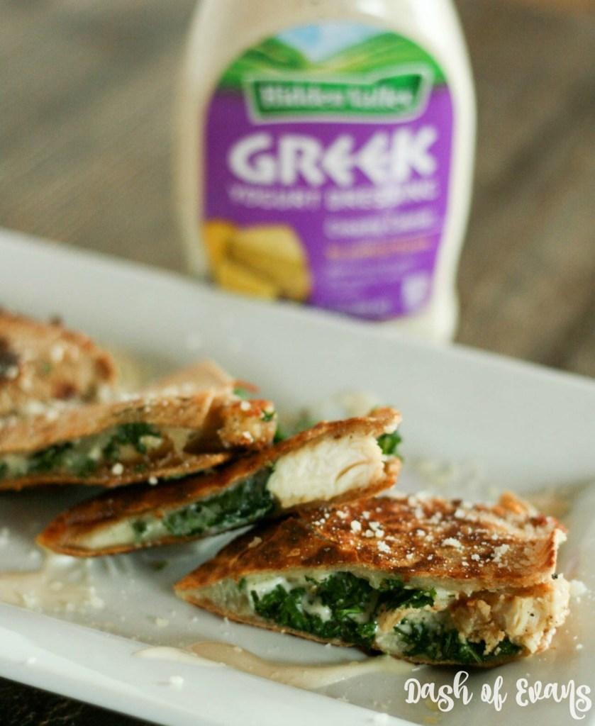 Chicken Caesar Quesadilla with kale. Perfect for a light dinner, easy appetizer or lunch! via @DashOfEvans