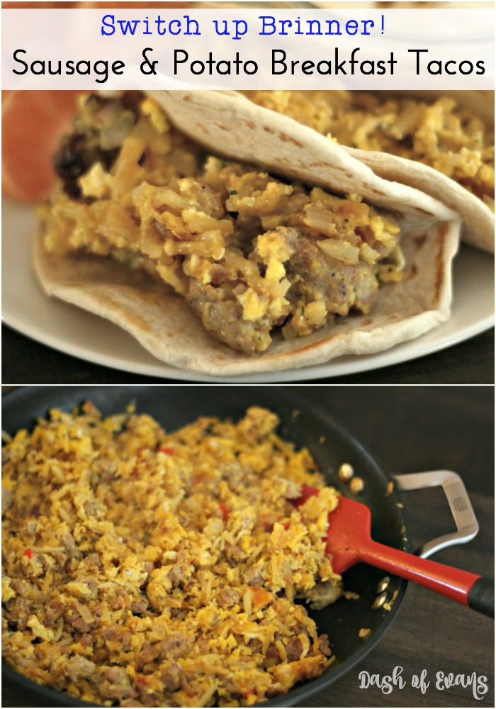 Switch up your brinner with BREAKFAST TACOS! Hashbrowns, sausage and eggs topped with cheese and stuffed into a soft taco shell. Ah-mazing! via @DashOfEvans