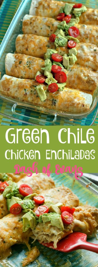 You've never had enchiladas like this before! Shredded chicken with a creamy, cheesy, spicy green chile sauce. SO tasty! via @DashOfEvans