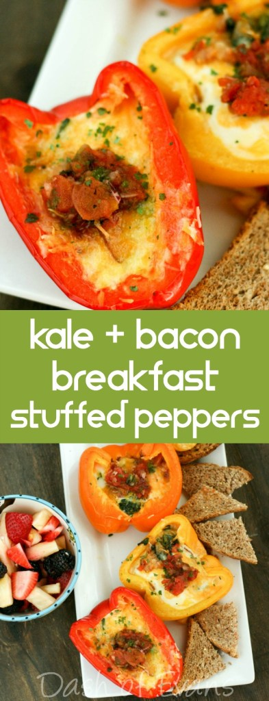 Kale + Bacon Breakfast Stuffed Peppers...so tasty! Even better: the proceeds from Produce for Kids products is helping Jump with Jill. Look for tasty recipe cards at your local Meijer store. via @DashOfEvans