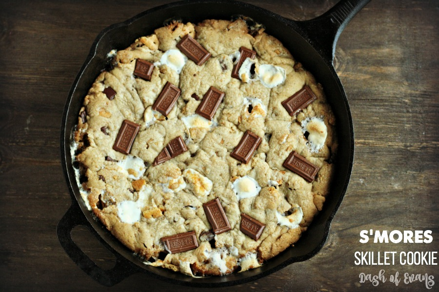 S'mores Skillet Cookie made with coconut oil! Ooey gooey with a graham cracker crunch--YUM! #IC #A2Milk #Ad via @DashofEvans