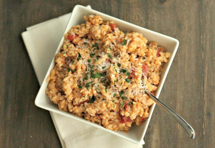 This Tomato Risotto using Red Gold Tomatoes is perfect for the holidays--works well with any protein! Check out the recipe @DashOfEvans #ad