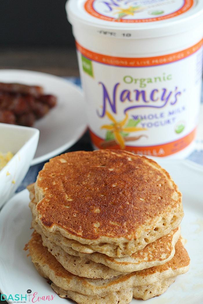 Light, fluffy pancakes using Nancy's Whole Milk yogurt and spiralized apples. YUM! via @DashofEvans