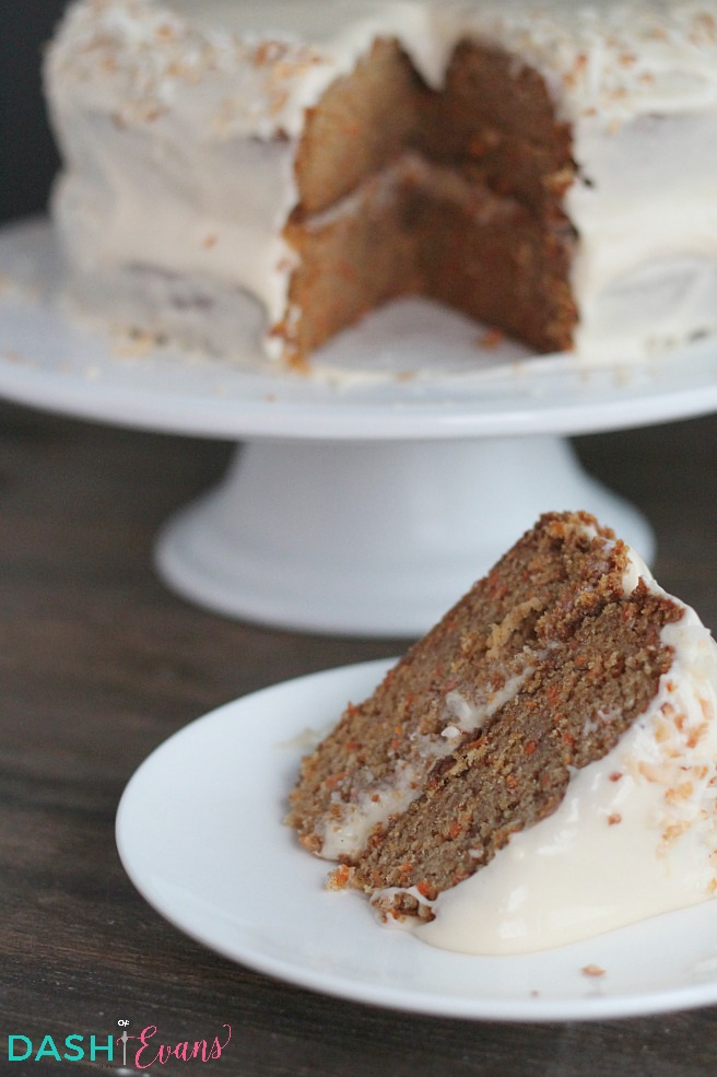 This is the best carrot cake EVER! Super simple to make either tiered or in a 9x13. YUM! via @DashOfEvans