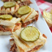 Quick and easy dinner: BBQ Pulled Pork Sliders. Grab some Curly's Road Trip Eats IPA pulled pork from the store and pair with sweet Hawaiian rolls, pickles and a tangy mustard spread. YUM! via @DashOfEvans #RoadTripEats