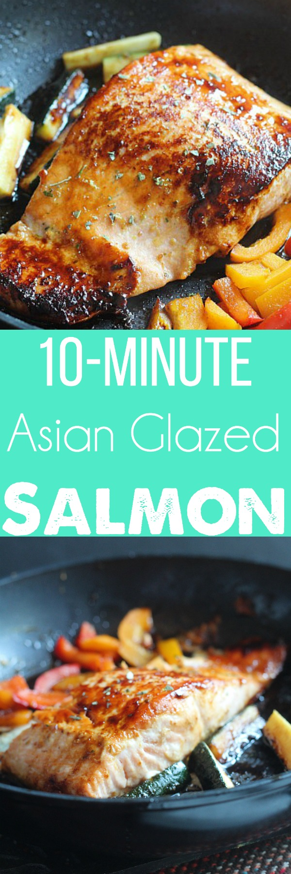Delicous Salmon dinner in under 15 minutes? YES PLEASE! This quick Asian glaze is perfect for Circulon pans because they're non-stick. Serve with rice or couscous. via @DashOfEvans