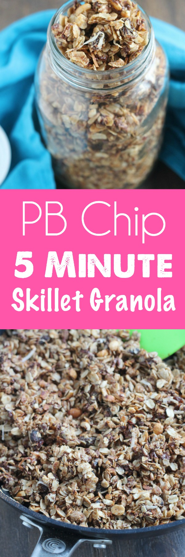 Healthy Peanut Butter Chip Skillet Granola! Uses coconut oil and your typical granola favorites. Perfect for breakfast parfaits or a snack. Made in a skillet in 5-minutes--no buring here! via @DashOfEvans