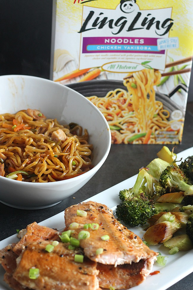 Craving takeout? This easy sheet pan meal with a side of Ling Ling noodles whips up in less than 25 minutes. YUM! via @DashOfEvans