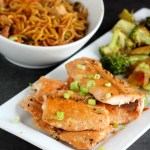 Sheet Pan Teriyaki Salmon + Broccoli with Noodles