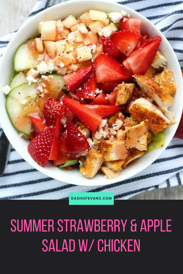 This Strawberry + Apple Salad with Chopped Chicken is light and fresh--perfect for summer! You can easily put this in a mason jar for weekday lunches or prepare quickly for dinner. YUM! via @DashOfEvans