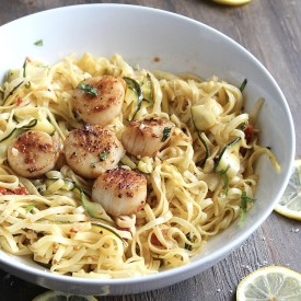 Date Night In: Easy (and cheesy!) Linguine with Scallops