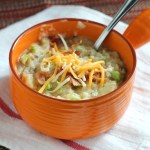 Looking for an easy, comforting potato soup? This Loaded Baked Potato version has an added kick of roasted garlic. YUM! via @DashOfEvans #BetterThan #IC